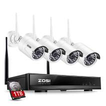 ZOSI 1080P Wireless Home Security Camera System FULL 1080P HD NVR With 1TB Hard Drive and 4pcs 2.0MP 1080P HD WiFi Indoor Outdoor Weatherproof Surveillance IP Cameras Night Vision, Motion Detection