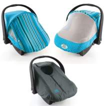 Cozy Combo Pack (Blue Stripe) – 'Sun & Bug Cover' Plus 'Cozy Cover' Infant Carrier Covers - Trusted by Over 5 Million Moms Worldwide – Protects Your Baby from Mosquitos, Insects, The Sun, Wind & Rain