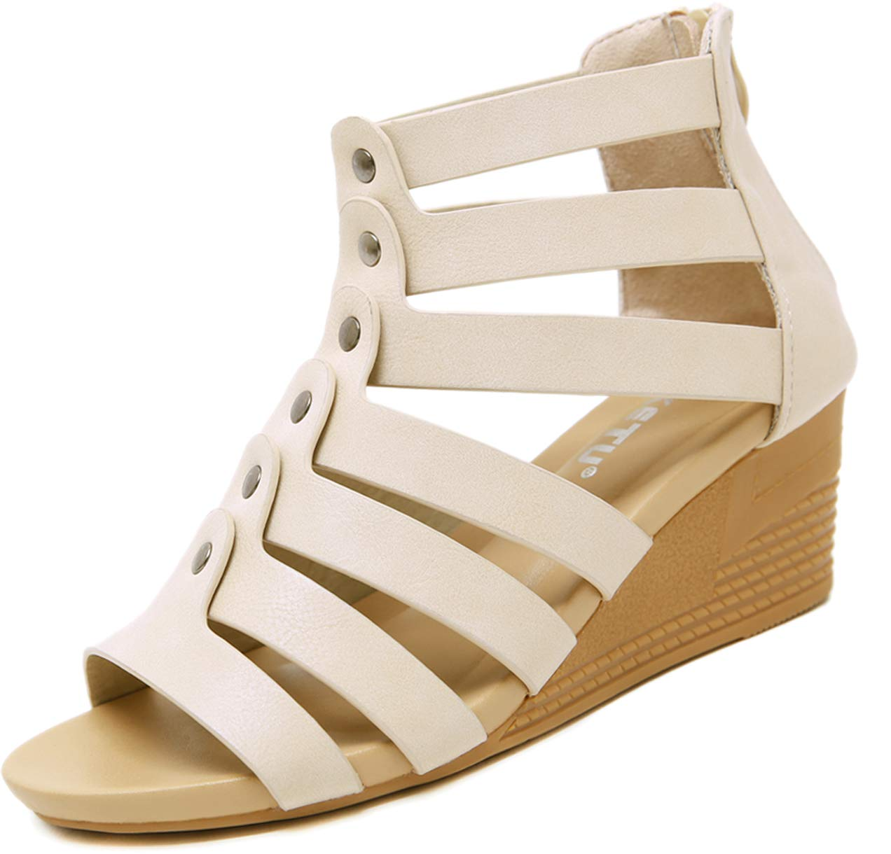 Yozai Womens Low Wedge Summer Sandals with Back Zipper