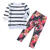 MetCuento Baby Girls Hoodie and Pants Set Long Sleeve Sweatshirt Tops with Pocket Toddler Floral Clothes Headband Outfit