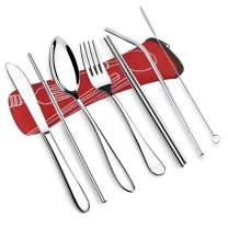 VICBAY 7 Pieces Stainless Steel Flatware Set, Knife Fork Spoon Chopsticks Set, Travel Camping Cutlery Set with Neoprene Case, Reusable Lunch Box Utensils, Portable Travel Silverware Set