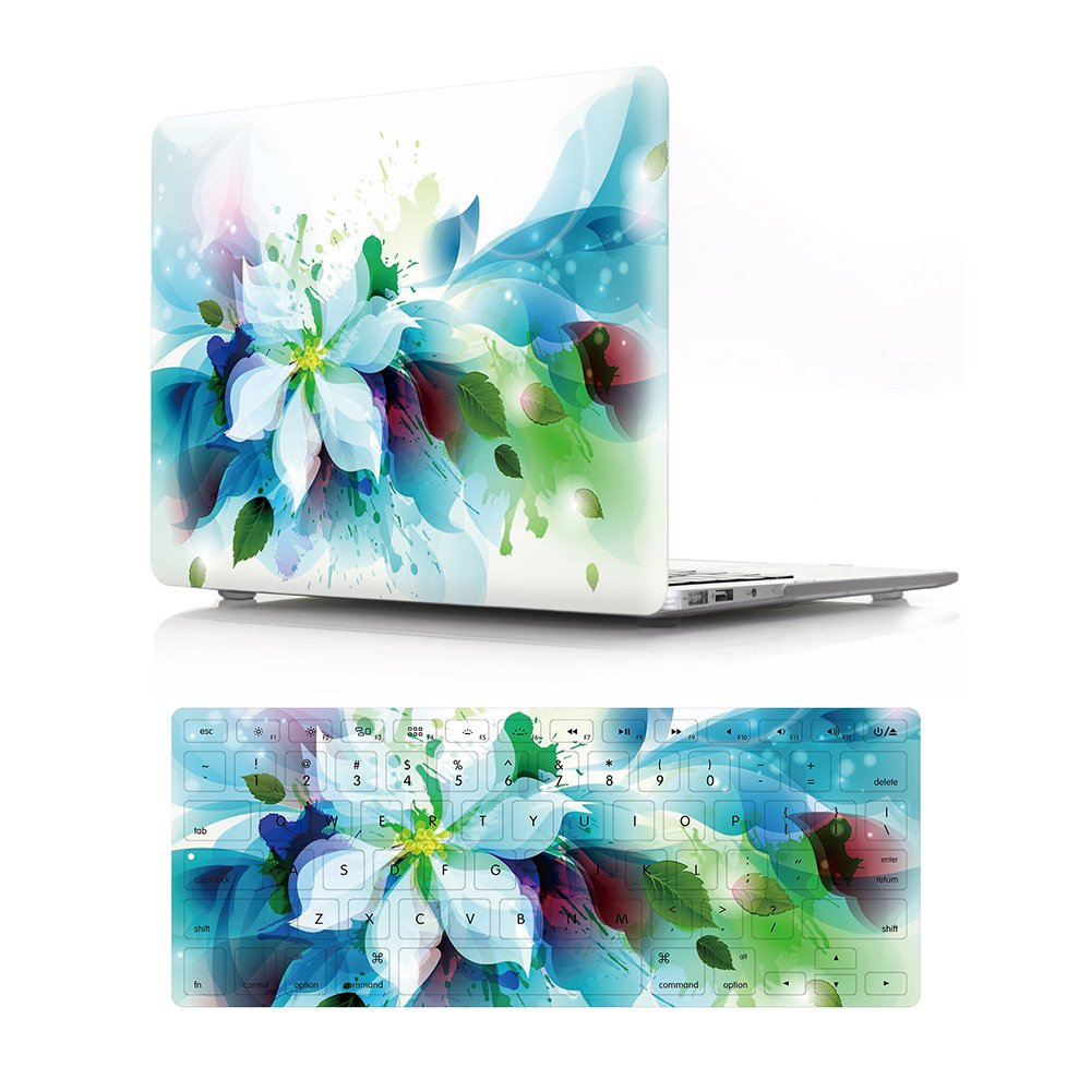 """HRH 2 in 1 Blue Watercolor Flowers Laptop Body Shell Protective PC Hard Case Cover and Matching Silicone Keyboard Cover for MacBook Air 13.3"""" Inch (A1466/A1369,Older Version Release 2010-2017)"""