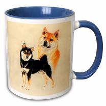 "3dRose mug_1022_6""Shiba Inu"" Two Tone Blue Mug, 11 oz, Blue/White"