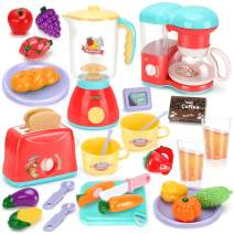Kids Assorted Kitchen Appliance Toys, Pretend Kitchen Toy Set Includes Coffee Maker ,Blender and Toaster ,Cutting Play Food and Kitchen Utensils Accessories,Learning Gift for Toddlers Baby Girls Boys