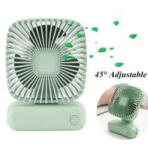 Portable Fan Mini Handheld Desk Personal Fan Angle Adjustable USB Rechargeable 3 Speed Small Table Fan for Home Office Outdoor Travel Green