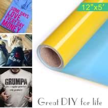 "Lucky Goddness PU Iron On Heat Transfer Vinyl for T-Shirts (Yellow, 12"" x 5ft)"