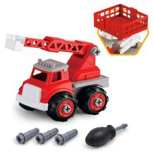 Gizmovine 2 in 1 Fire Truck Toy Sets, Take Apart Assembly Toys for Boys Educational Rescue Ladder & Fire Lift Truck Vehicles Toy STEM Learning, Birthday Gifts Construction Toys for Aged 3 4 5 6 Boy