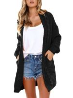 Women's Boho Long Sleeve Open Front Chunky Long Cardigans Pointelle Knit Boyfriend Oversized Sweaters