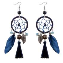 Women'S Feather Tassels Pendant Earrings Bohemian Ethnic Style Retro Dream Catcher Exaggerated Rope Ear Handmade Earrings Jewelry for Christmas Gifts