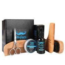 Shefave Beard Kit Beard Brush for Men -Beard Care Grooming & Trimming Kit-100% Pure Boar Bristle Brush,Wooden Beard Comb,Beard Oil,Beard Balm, Beard Shaping Tool & Trimming Scissors Men Gift Set