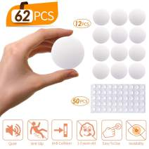 Door Stopper Wall Protector, 62 PCS Silicone Wall Protectors Self Adhesive Door Stopper Bumpers, SAFETYON Stick Bumper Pads Door Knob Guard Wall Shield Noise Dampening Buffer Bumpers for Door Handle
