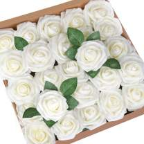 Mocoosy 50Pcs Artificial Rose Flowers, Real Looking Ivory Fake Foam Roses Bulk with Stem for Wedding Bouquets Centerpieces Bridal Shower Home Party DIY Floral Arrangements Decorations