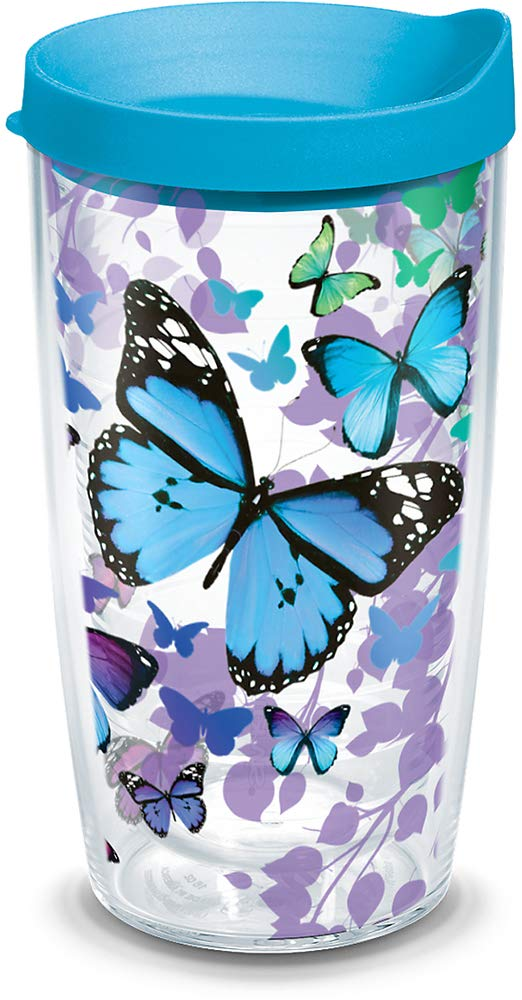 Tervis 1312393 Blue Endless Butterfly Insulated Tumbler with Wrap and Turquoise Lid, 16oz, Clear
