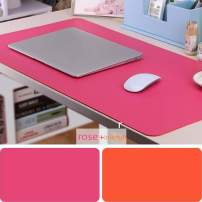 "Large Leather Desk Mouse Pad, Desk Pad Protecter 31.5"" x 15.7"" PU Leather Mouse Mat Non-Slip Comfortable Gaming Writing Mat Dual Use Office Desk Mat (Rose&Orange)"