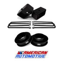 "American Automotive 1999-2007 Silverado Sierra Lift Kit 2WD 3"" Front Spring Spacers + 3"" Rear Blocks Made in USA Steel Road Fury TIG Welded"