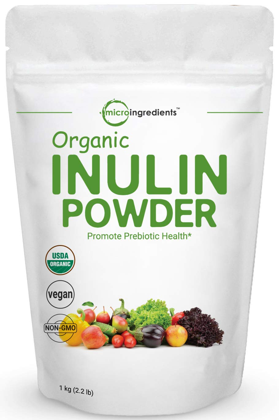 Organic Inulin FOS Powder (Jerusalem Artichoke), 1KG (35 Ounce), Inulin Powder for Baking, Prebiotic Intestinal Support, Colon and Gut Health, Natural Water Soluble Fibers for Smoothie & Drinks, Vegan