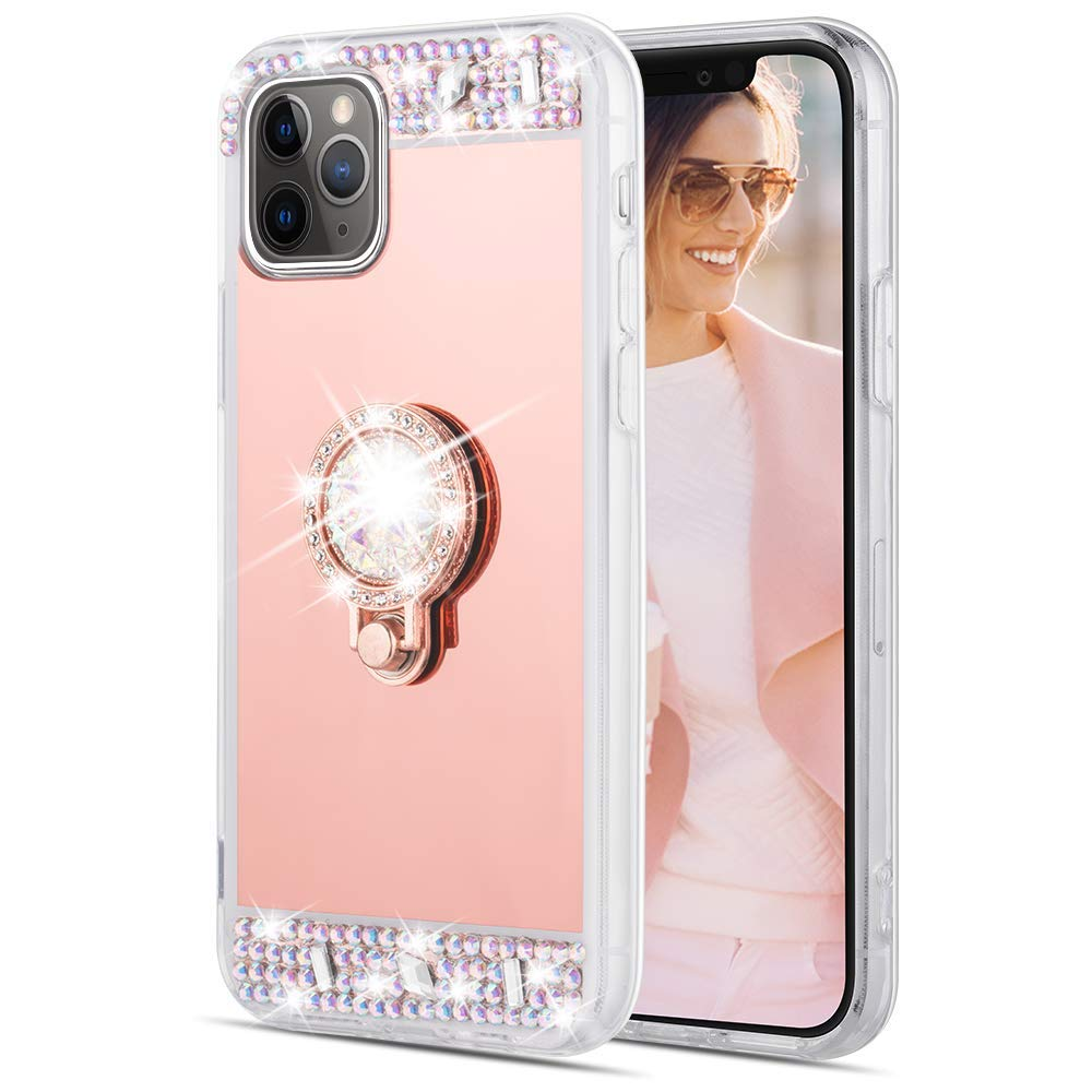 Caka Ring Case for iPhone 11 Pro Mirror Glitter Case with Ring Holder Kickstand Diamond Makeup Bling Shiny Rhinestone Crystal Girls Women Protective Case for iPhone 11 Pro (5.8 inch)(Rose Gold)