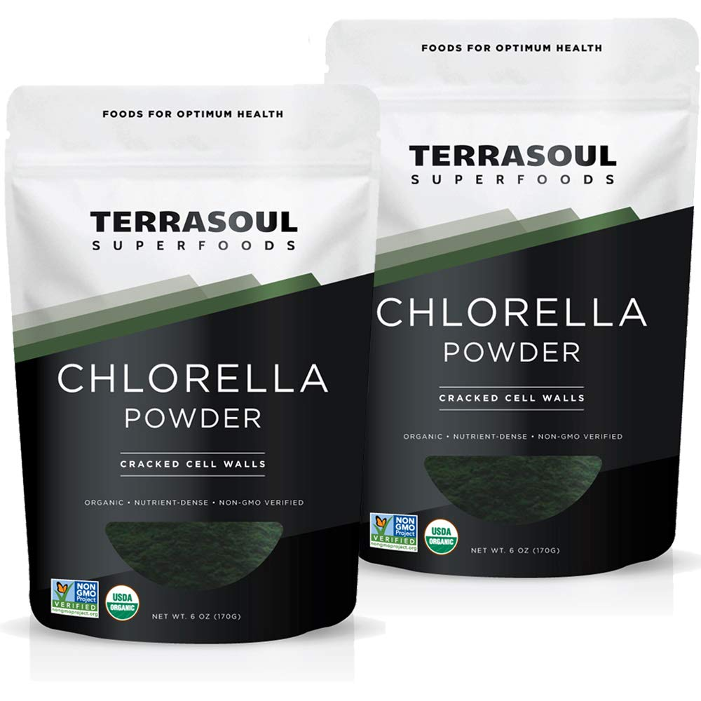 Terrasoul Superfoods Organic Chlorella Powder (Cracked Cell Walls), 12 Oz (2 Pack) - Sourced from Taiwan