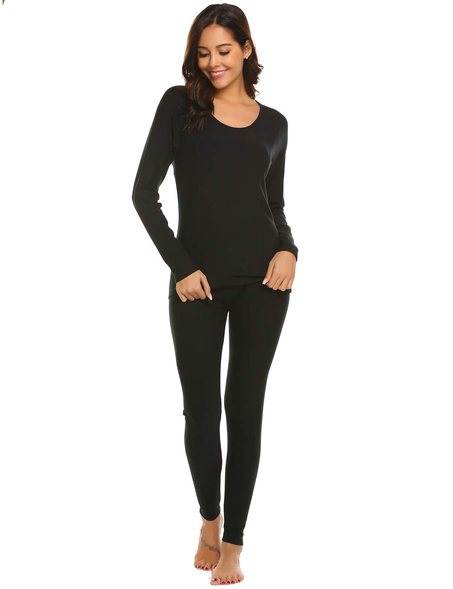Ekouaer Women's 2-Piece Pajama Long Thermal Underwear Fleece Lined Winter Base Layering Set S-XXXL