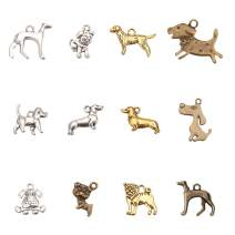 PH PandaHall 72pcs 12 Styles Tibetan Alloy Animals Dogs Charms Pendants Pet Puppy Dog Beads Charms for DIY Bracelet Necklace Jewelry Making, Antique Silver Bronze Golden