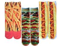 WODECASA Mens Teen Boys Novelty Crazy Cool Funny 3D Printed Graphic Mid-calf Tube Socks Pack
