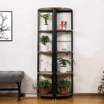 VIVOHOME 2 PCS 5-Tier Corner Shelves, Industrial Wood Plant Stand Storage Rack with Metal Frame for Living Room, Home Office, Kitchen