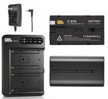 NP-F970 Battery and Charger, Pixel 2 Pack 8400mAh NP F970 Battery with 30W Dual Channel Charger for Sony NP F750, F550, F570 and Sony TR917, CCD-SC55, Fit for Pixel 60C Ring Light and P50 Video Light