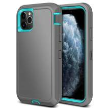 Jiunai iPhone 11 Pro Max Case, Outdoor Sports Tough Heavy Duty Drop Protection Shockproof Anti Scratch Dual Layer Armor Strong Rugged Cover Matte Case ONLY for iPhone 11 Pro Max 6.5 inches 2019 Grey
