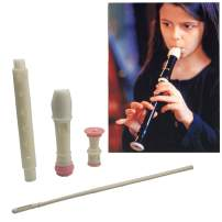 Jiuxun Baroque German Soprano Recorder - 8 Hole, Key of C 3 Piece Music Flute Instrument with Cleaning Rod, Case Bag, Fingering Chart (Baroque, Pink-White)