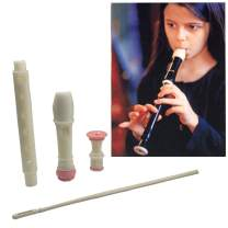 Jiuxun Baroque German Soprano Recorder - 8 Hole, Key of C 3 Piece Music Flute Instrument with Cleaning Rod, Case Bag, Fingering Chart (German, Pink-white)