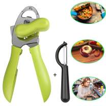 Can Opener Manual, 4in1 Stainless Steel Friendly Designed Can Opener with Smooth Edge, Ultra Sharp & Safe, Comfort Grips, Anti Slip Heavy Duty Jar Opener Included Vegetable Peeler (Green)