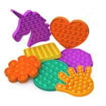 LXXIASHI Pop Fidget Toys for Anxiety, Push Pop Pop Bubble Sensory Fidget Toy, Silicone Stress Reliever Toy, (Heart - Green, 5.9x5.3x0.6inch)