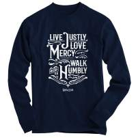 Kerusso Christian Long Sleeve Shirt for Men - Navy Justly, Mercy, Humble T-Shirt Apparel