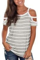 Jescakoo Summer Cold Shoulder Tops for Women Short Sleeve Crew Neck T Shirts