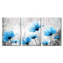 1 KINGO Abstract Blue Poppie Flower Canvas Wall Art 3 Panel Grey Vintage Wall Decor (Blue)