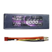 HRB 7.4V 6000mAh 2S LiPo Battery Pack 60C HardCase with 4.0mm Bullet to Deans Plug for RC Car Losi Traxxas Slash Buggy Roar Approved