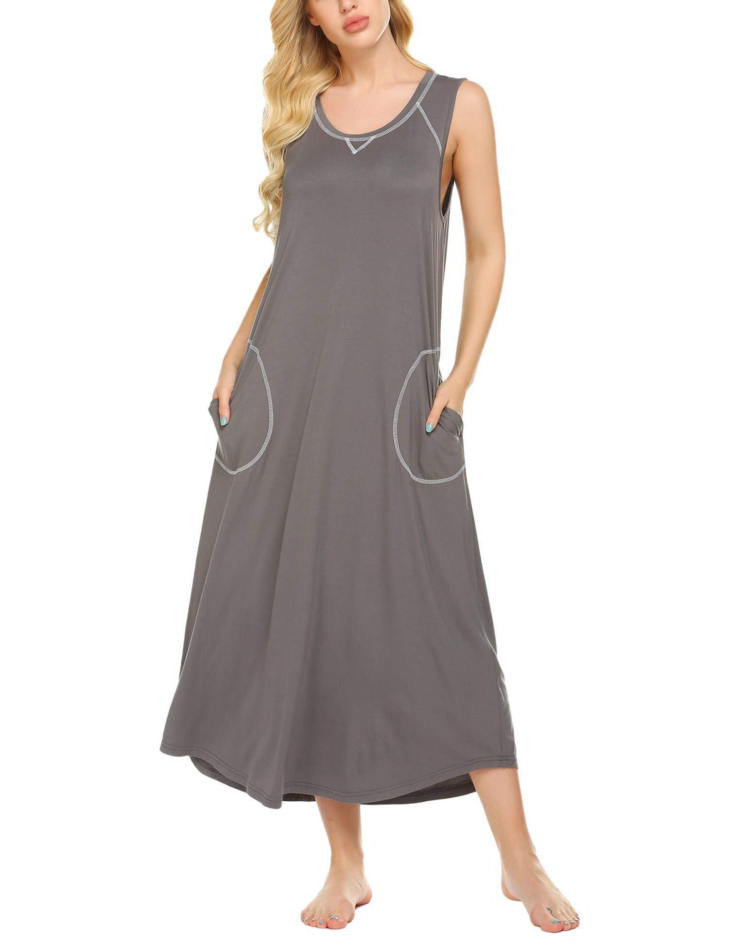 Ekouaer Sleepwear Women's Loungewear Sleeveless Nightshirt Dress Long Nightgown with Pockets S-XXL