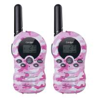 Caroger Kids Walkie Talkies 2 Pack Two Way Radio Long Range Distance 22 Channel Handheld Outdoor Kids Toy Cellphone for Christmas Birthday Gift (Camouflage Pink, 1 Pair)