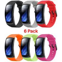 Junboer Compatible Gear Fit2 Pro/Fit2 Watch Band, Replacement Soft Silicone Watch Strap for Gear Fit2 Pro Smartwatch Bands Men Women (6PACK, Small)