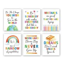 """HPNIUB Colorful Words Art Prints, Set of 6 (8""""X10""""), Inspirational Quotes Motivational Saying Canvas Poster, Rainbow World Crayon Ink Splatters Wall Art for Nursery Classroom Kids Playroom, No Frame"""