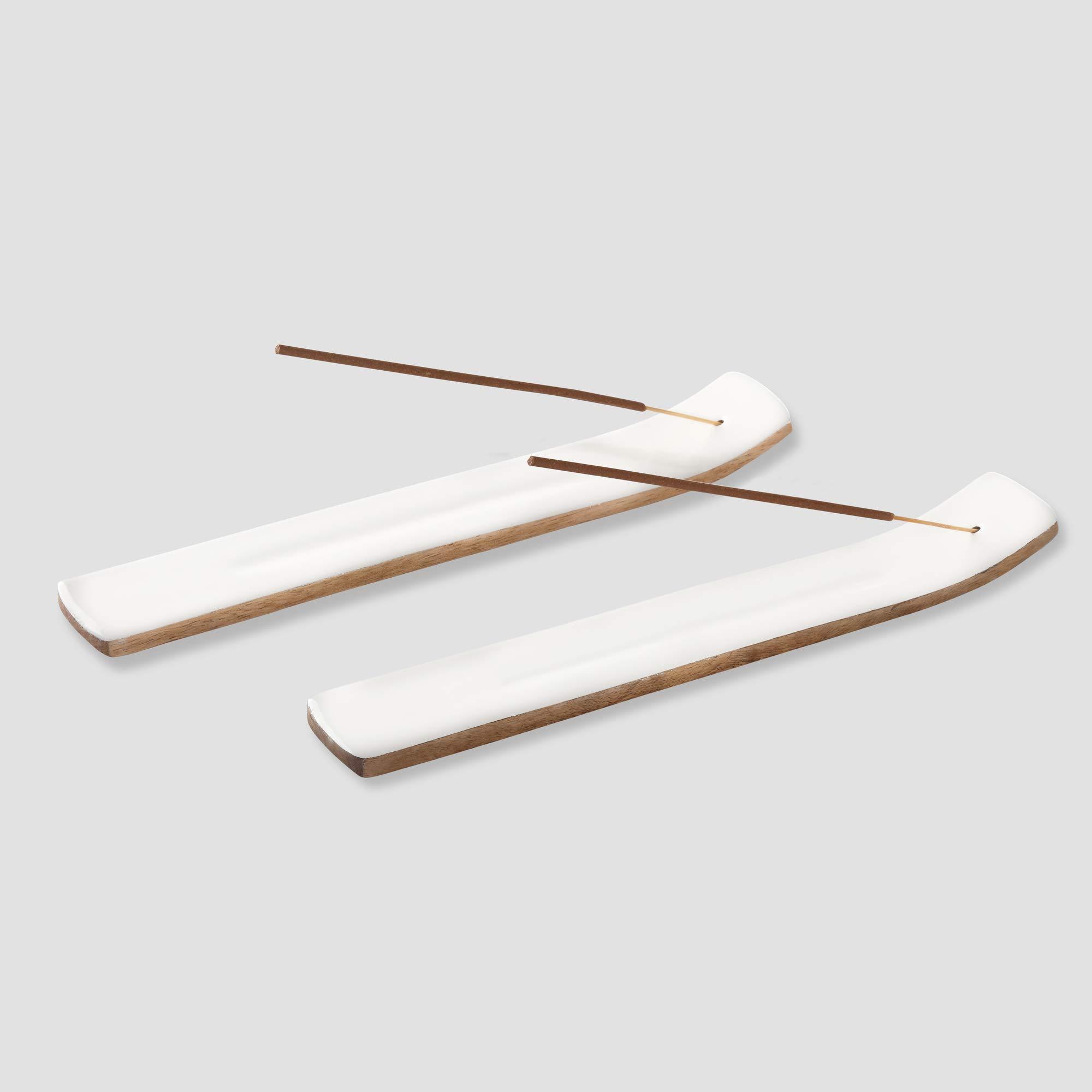 Folkulture Set of 2 Incense Holder or Incense Burner for Insence Sticks, Modern Ash Catcher or Insence Burner Holder, Wooden Insense Stick Holders or Inscent Tray, Mango Wood, White