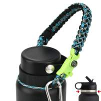 QeeCord 2020 Paracord Handle for Hydro Flask 2.0 Wide & Standard Mouth Water Bottle Carrier with New Ring & Carabiner 12oz, 16oz, 18oz, 20oz, 32oz, 40oz, 64oz