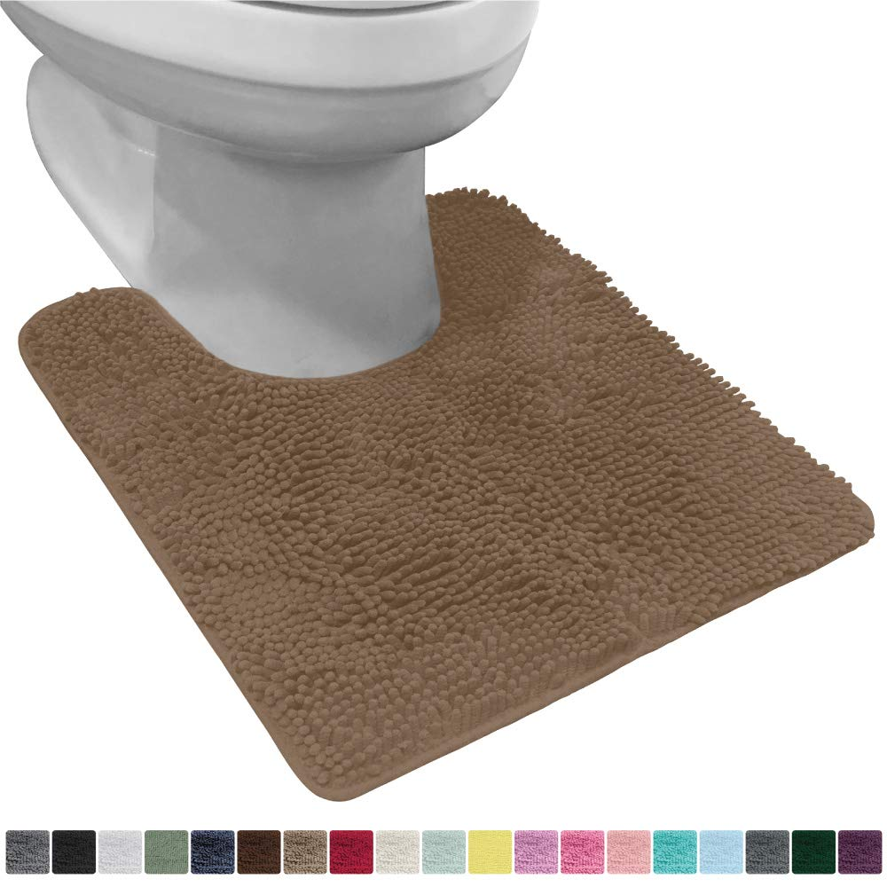 Gorilla Grip Original Shaggy Chenille Oval U-Shape Contoured Mat for Base of Toilet, 22.5x19.5 Size, Machine Wash and Dry, Soft Plush Absorbent Contour Carpet Mats for Bathroom Toilets, Beige
