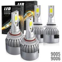 Syneticusa 9005+9006 Combo LED High/Low Beam Headlight Conversion Kit Light Bulbs 200W 20000LM 6000K White