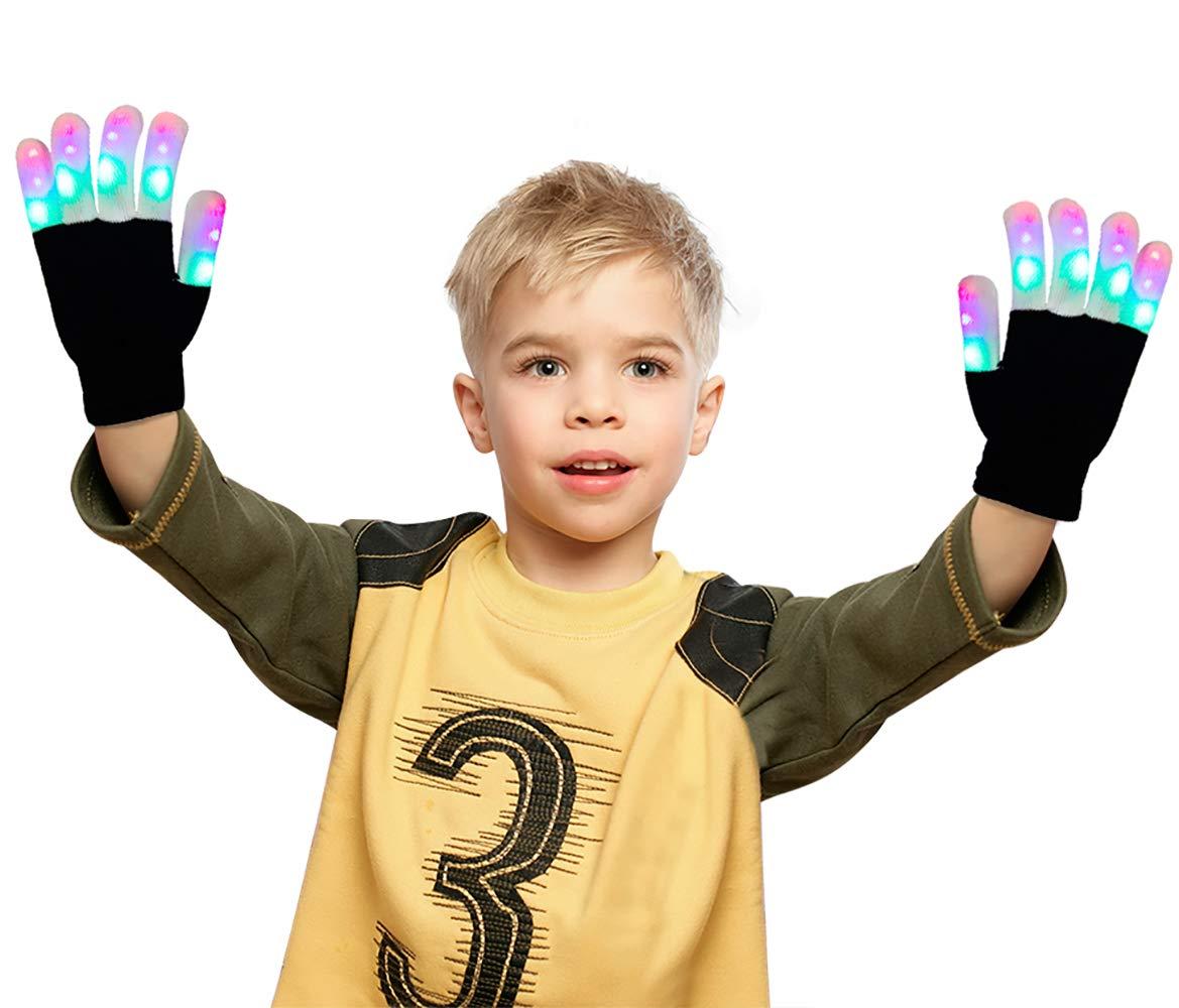 Kids Gift LED Gloves Finger Lights 3 Colors Flashing Rave Gloves for Costume Party Favors Toys