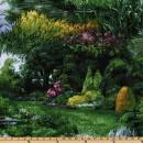 Michael Miller Park Landscape Green Fabric by The Yard
