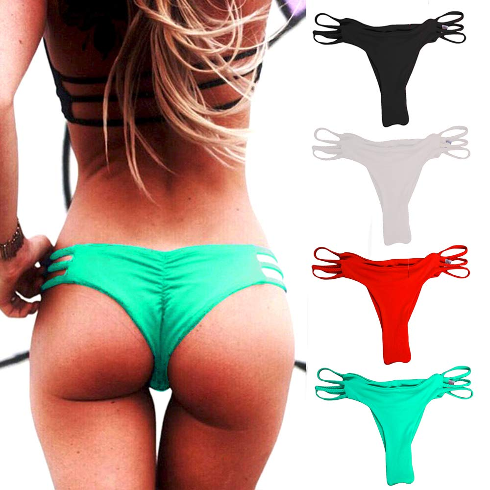 CROSS1946 Sexy Women's Bikini Thong Bottom Brazilian V Cheeky Ruched Semi Swimsuit