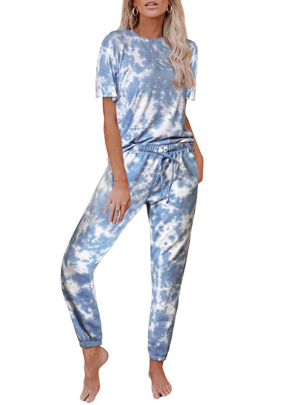 KIRUNDO Two Piece Pajamas Set Tie Dye Printed Short Sleeves T-Shirt Long Pants Joggers Sleepwear Lounge PJ Set with Belt
