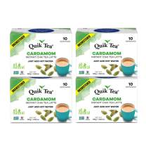 QuikTea Unsweetened Cardamom Chai, 40 count (4 boxes of 10 each) ( Pack May Vary )