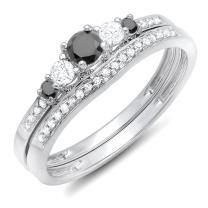 Dazzlingrock Collection 0.45 Carat (ctw) 10k Round Black And White Diamond Ladies 5 Stone Bridal Engagement Ring Set, White Gold